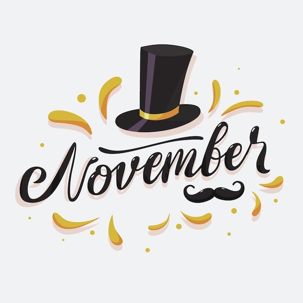 Movember świadomości Wąsy Tło Z Napisem Darmowych Wektorów