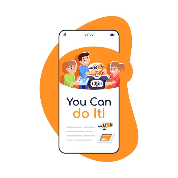 Możesz To Zrobić, Ekran Społecznościowy Publikuje Aplikację Na Smartfona. Premium Wektorów