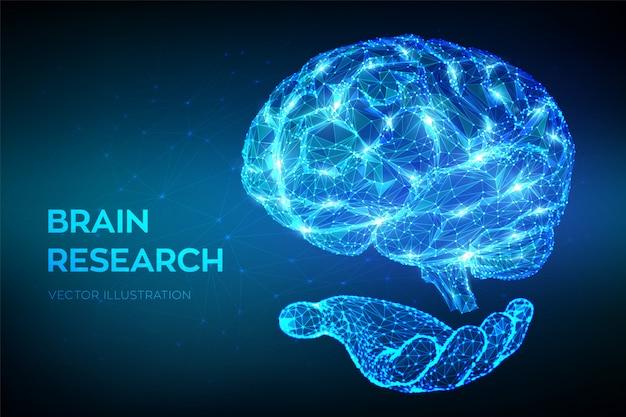 Mózg. Niski Wielokątne Streszczenie Cyfrowy Ludzki Mózg W Ręku. Premium Wektorów