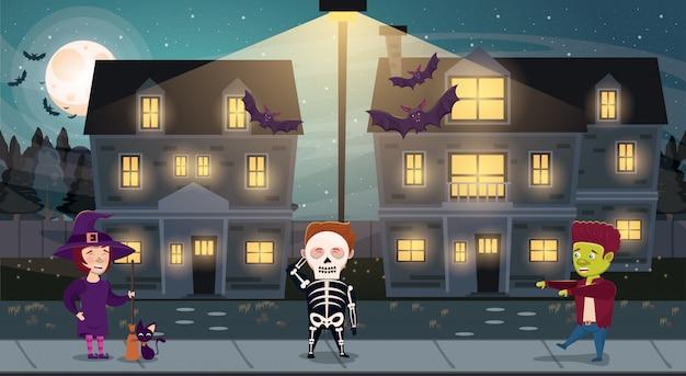 Mroczna scena halloween z postaciami kostiumów dla dzieci Premium Wektorów