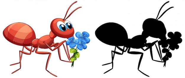 Mrówka Trzyma Zestaw Kwiatów Darmowych Wektorów