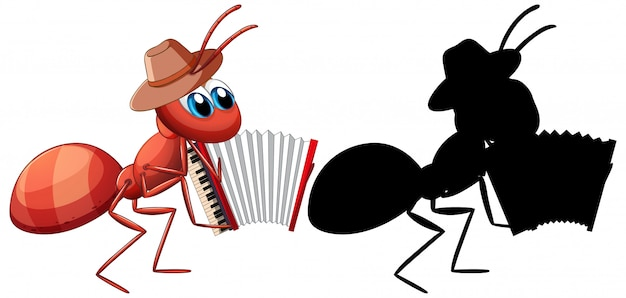 Mrówka Z Kreskówką Akordeon Premium Wektorów