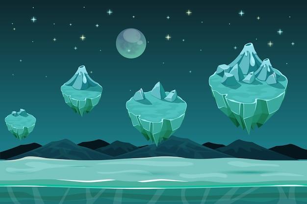 Mrożona Planeta Gry Poziome Tło, Wzór Gry Z Lodowymi Wyspami. Gra Krajobrazowa, Zimowa Gra Projektowa Ze śniegiem. Tło Gry Interfejsu Użytkownika Darmowych Wektorów