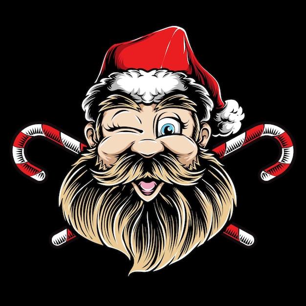 Mrugając Logo Głowy świętego Mikołaja Darmowych Wektorów