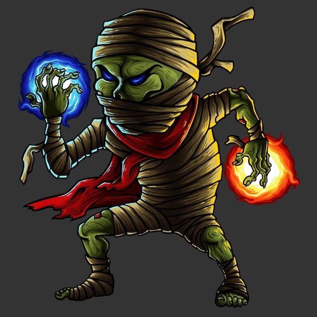 Mumia Halloween Monster Character Premium Wektorów
