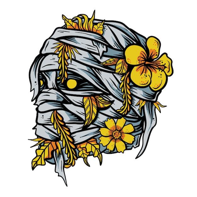 Mumia z ręka rysującym kwiatem w kierowniczej wektorowej ilustraci Premium Wektorów