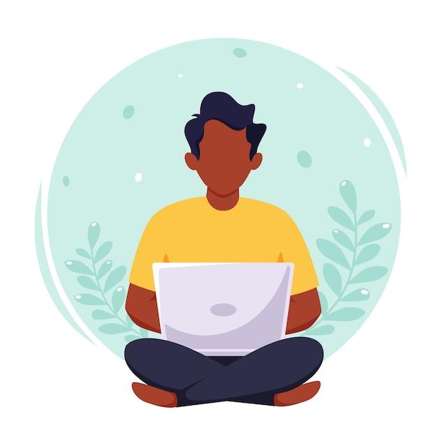 Murzyn Pracujący Na Laptopie, Wolny Strzelec, Praca Zdalna, Nauka Online, Praca Z Domu Premium Wektorów