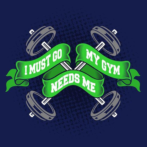 Muszę iść na siłownię i potrzebuję cytatów Premium Wektorów