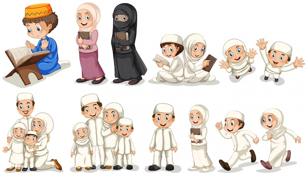 Muzułmanie w różnych działaniach Darmowych Wektorów