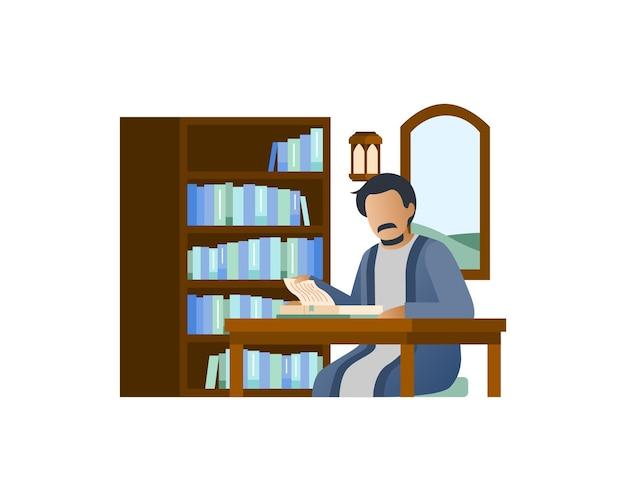 Muzułmanin Czyta Książkę W Swoim Domu Premium Wektorów