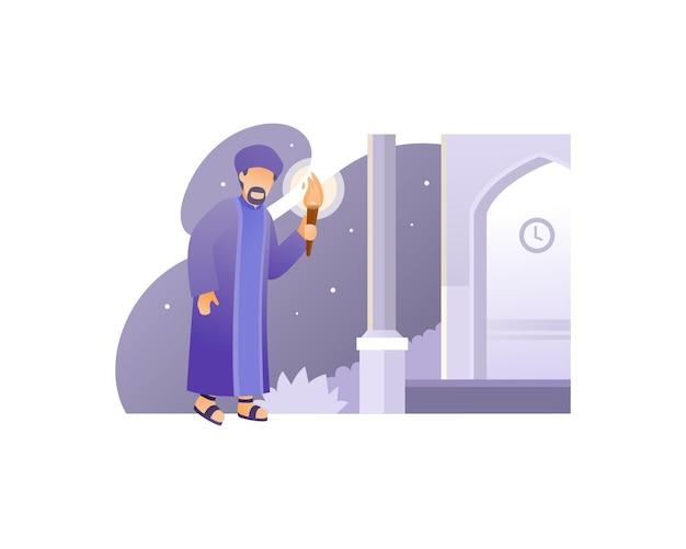 Muzułmanin Idzie Do Meczetu, Niosąc Pochodnię Premium Wektorów