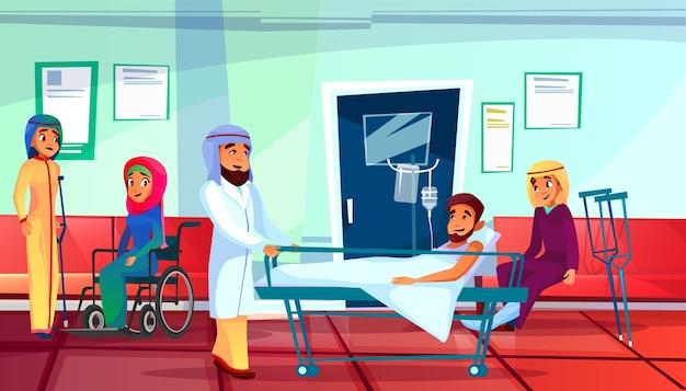 Muzułmanin lekarka i pacjenci ilustracja mężczyzna w medycznej reanimacyjnej leżance i kobietach Darmowych Wektorów