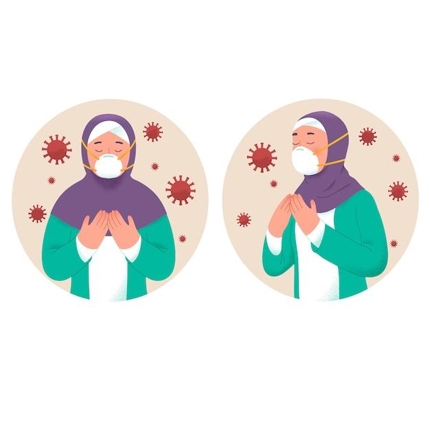 Muzułmanka Modli Się, Aby Uniknąć Zainfekowanego Wirusa Koronowego Podczas Ramadhan Premium Wektorów
