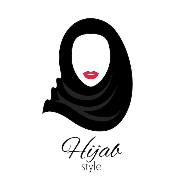 Muzułmanka W Symbol Hidżabu. Piękna Arabka. Dziewczyna W Tradycyjnym Stroju. Premium Wektorów