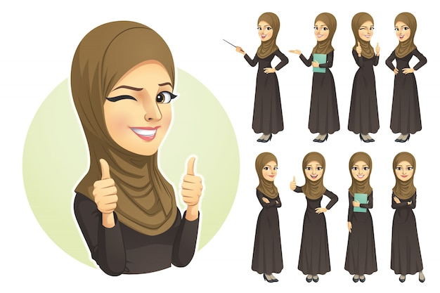 Muzułmanka z zestawem znaków hidżabu Premium Wektorów