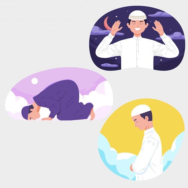 Muzułmańscy Mężczyźni Modlitwa Z Dnia Niebo Noc Ramadan Premium Wektorów