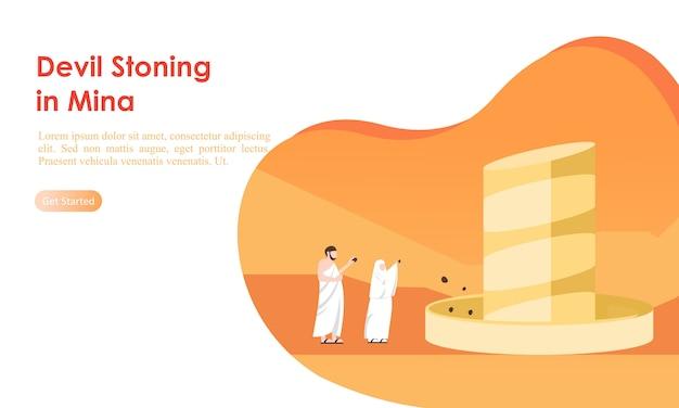 Muzułmańscy pielgrzymi pielgrzymi ukamienowania szablon filaru diabła Premium Wektorów