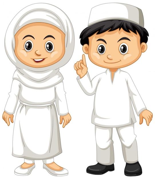 Muzułmańska chłopiec i dziewczyna w białym stroju Darmowych Wektorów