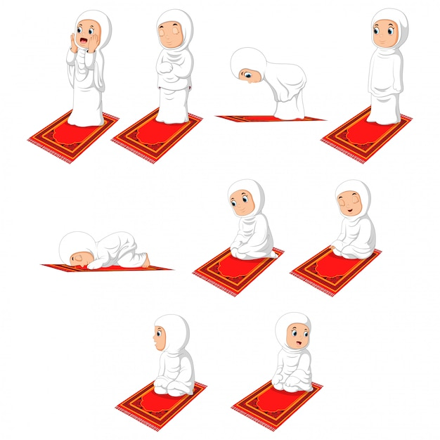 Muzułmańska Dziewczyna Sholat Pray Ruch Premium Wektorów