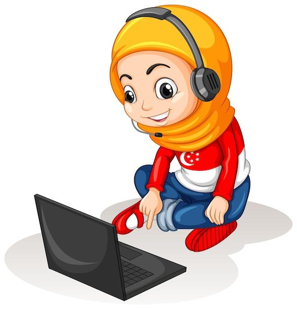 Muzułmańska Dziewczyna Z Laptopem Na Białym Tle Darmowych Wektorów
