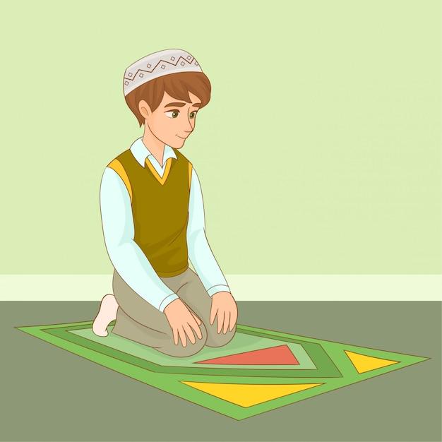Muzułmański Chłopiec Modli Się W Ramadanie Premium Wektorów