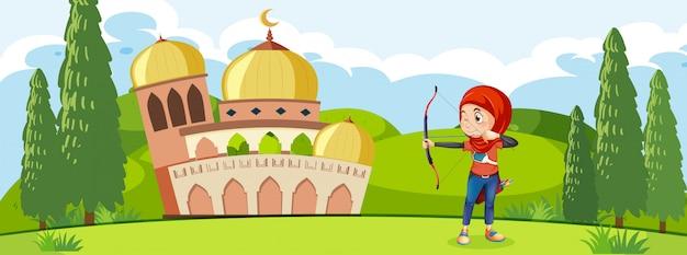 Muzułmański łuczniczy Trening Przed Meczetem Premium Wektorów