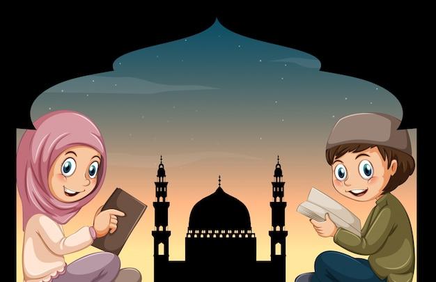 Muzułmańskie chłopiec i dziewczynka czytanie książek Darmowych Wektorów