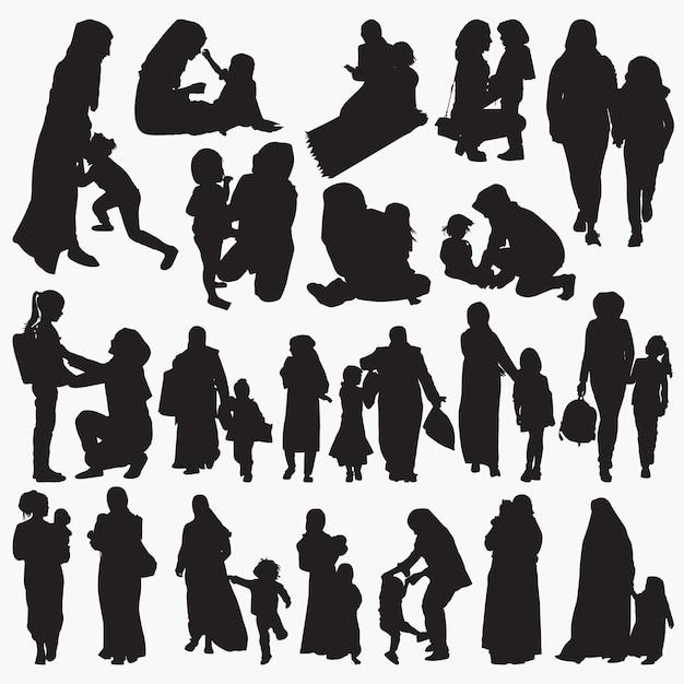 Muzułmańskie matki i dziecka zestaw sylwetki Premium Wektorów