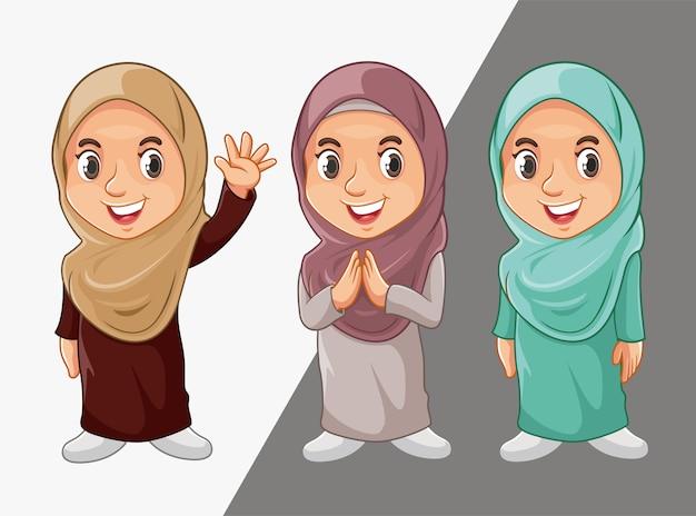 Muzułmańskie postacie dziewcząt Premium Wektorów