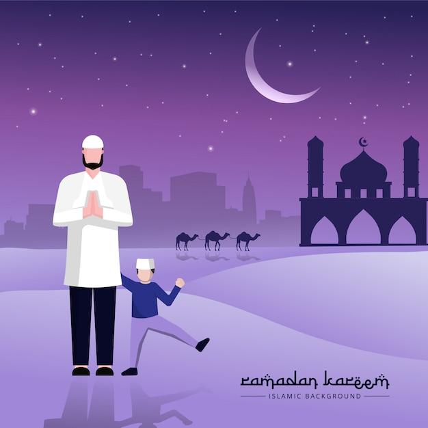 Muzułmańskie Pozdrowienia Dla Ojca I Syna Z Okazji Ramadanu. Premium Wektorów