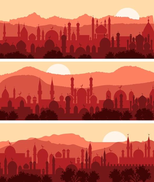 Muzułmańskie Widoki Miast, Trzy Tła Tradycyjnego Miasta Arabskiego Darmowych Wektorów