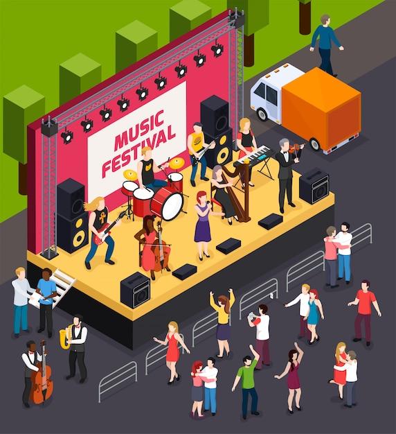 Muzycy Podczas Występu Na Scenie Festiwalu Muzycznego I Tańczących Gości Izometryczny Skład Darmowych Wektorów