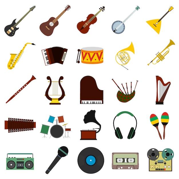 Muzyczne Płaskie Elementy Ustawione Dla Sieci I Urządzenia Mobilnego Premium Wektorów