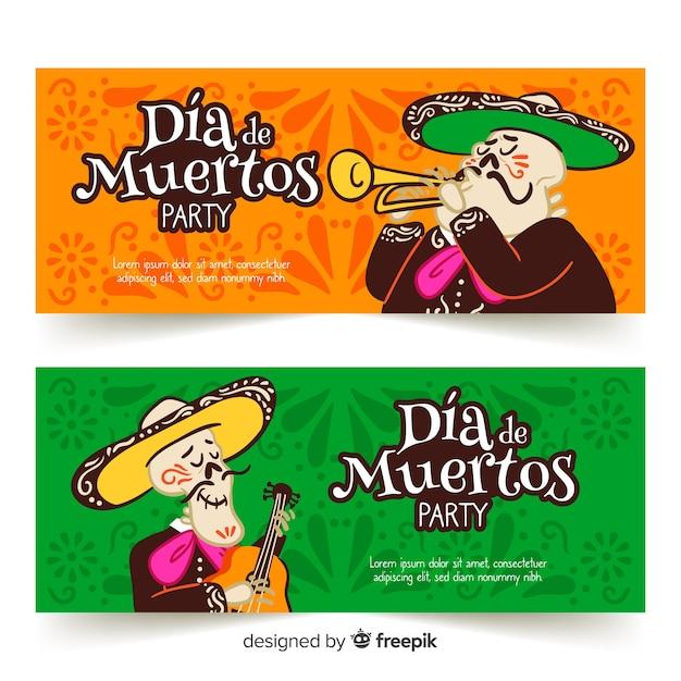 Muzyk Czaszki Banery Día De Muertos Darmowych Wektorów