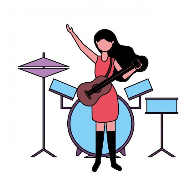 Muzyk Kobieta Z Gitarą I Bębenami Premium Wektorów
