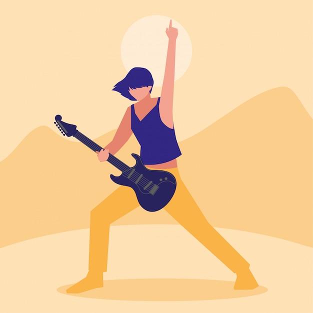 Muzyk mężczyzna gra na gitarze elektrycznej Premium Wektorów