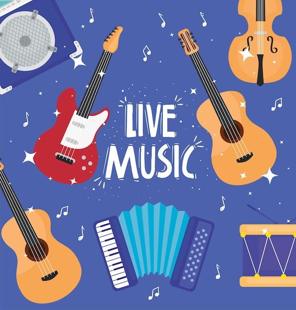 Muzyka Na żywo Napis Z Ilustracją Wzoru Instrumentów Muzycznych Premium Wektorów