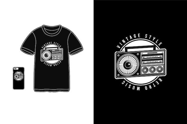 Muzyka Retro W Stylu Vintage, Typografia Na Koszulkach Premium Wektorów