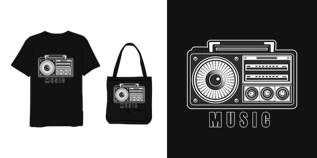 Muzyka, T Shirt I Torba W Stylu Vintage Z Szarego Białego Nowoczesnego Prostego Stylu Premium Wektorów
