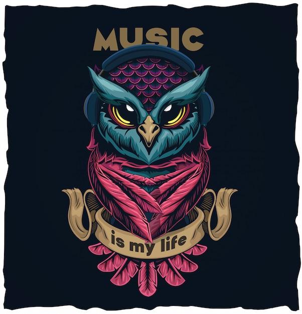 Muzykalna Sowy Tshirt Projekta Ilustraci Ilustracja Premium Wektorów