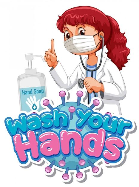 Myć Ręce Projekt Plakatu Z Lekarzem Noszącym Maskę Darmowych Wektorów