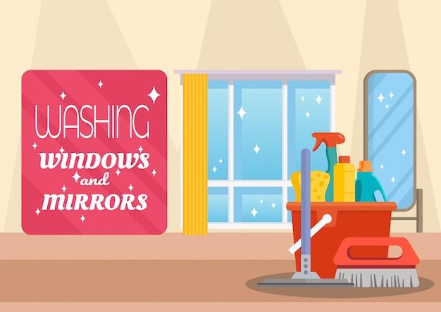 Mycie okien i serwerów lustrzanych Premium Wektorów