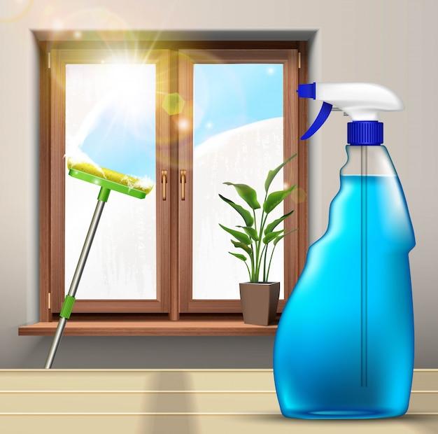 Mycie Okien Mopem I Sprayem Z Rośliną Na Szybę. Premium Wektorów