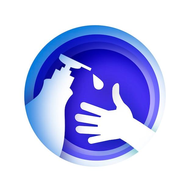 Mycie Rąk. Codzienna Pielęgnacja Ciała. Umyj Ręce W Stylu Wycinanym Z Papieru. Premium Wektorów