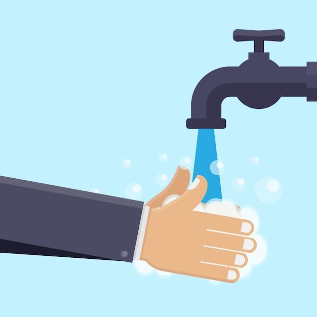 Mycie rąk płaskie ilustracja Premium Wektorów