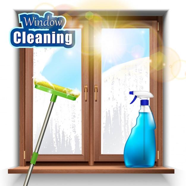 Mycie Tła Okien Mopem I środkiem W Sprayu. Premium Wektorów