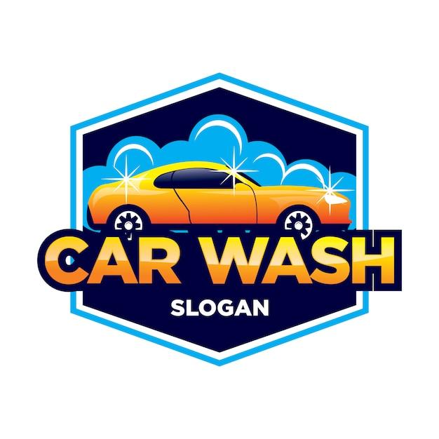 Myjnia Samochodowa I Logo Z Detalami Premium Wektorów