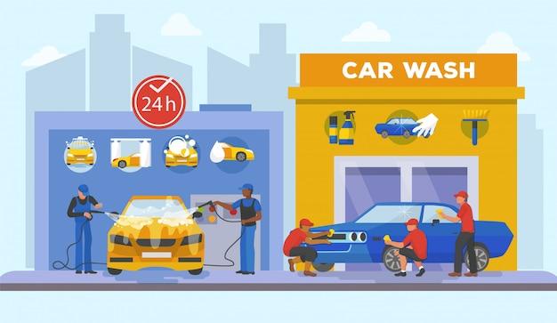 Myjnia Samochodowa Pełna Usługa Dzień I Noc Ilustracja. Mężczyźni W Mundurach Myją Auto Wodą Z Mydłem, Inni Mężczyźni Polerują Samochód, Aż Zabłyśnie. Premium Wektorów