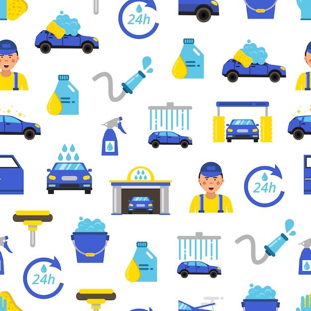 Myjnia samochodowa płaski ikony wzór, koncepcja serwisu samochodowego, auto stacji samochodowej Premium Wektorów