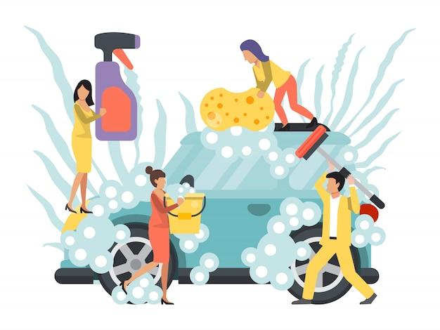 Myjnia Samochodowa, Samoobsługa. Ludzie Myją Samochody. Usługi Sprzątania Samochodów Premium Wektorów